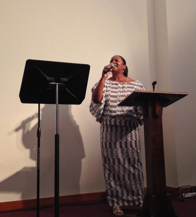 Rev Loving performed her new prayer songs